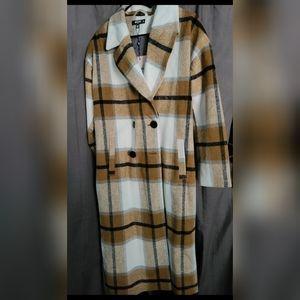 Mustard Plaid Oversized Cocoon Coat